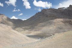 Road over moutain to leh and small city in valley Royalty Free Stock Photography