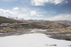 Road over moutain to leh and snow Stock Photo