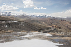 Road over moutain to leh and snow Royalty Free Stock Photo