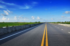 Road With Painted Double Yellow Line Stock Photo