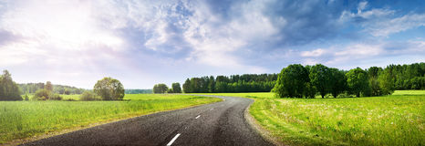 Road panorama on beautiful evening Stock Image