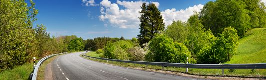 Road panorama on sunny spring day Stock Photography