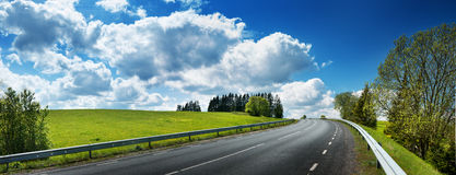 Road panorama on sunny spring day Stock Image