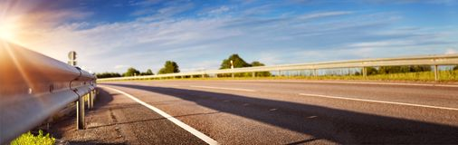 Road panorama on sunny spring evening Royalty Free Stock Images