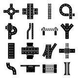 Road parts constructor icons set, simple style. Road parts constructor icons set. Simple illustration of 16 road parts constructor module vector icons for web Royalty Free Stock Images
