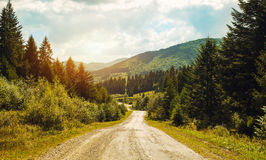 Road pass view to walkway and mountains. Carpathians in Summer. Road pass view to walkway and mountains. Carpathians Summer Royalty Free Stock Images