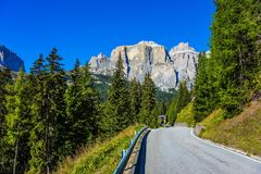The road passes in limestone and dolomite rocks Royalty Free Stock Image