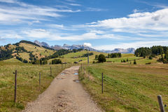 Road and pastures. Dirt road crosses pastures in the background of the Dolomite Mountains Stock Photo