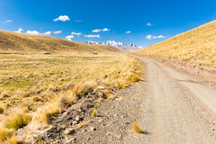 Road path mountains range ridge snow peaks, Bolivia. Road dirt path mountain ridge range peaks summits, Cordillera Real mountains, Bolivia traveling tourism Stock Images