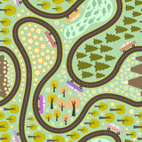 Road pattern with cars. Seamless pattern with road, colorful cars and beautiful nature around. Road trip pattern. Trees, mountains, lake and lots of flowers on Royalty Free Stock Image