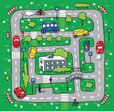 Road pattern. Children vector illustration of labyrinth of roads, grass areas, byilding and cars Stock Image
