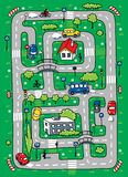 Road pattern. Children vector illustration of labyrinth of roads, grass areas, byilding and cars Stock Photos