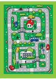 Road pattern. Pattern-labyrinth with cars, roads, houses, bridges stock illustration