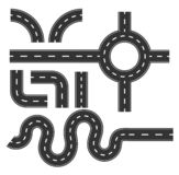 Road pattern set, curve for mapping Travel infographic concept.  royalty free illustration