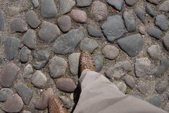 Road paved with cobblestone Royalty Free Stock Image
