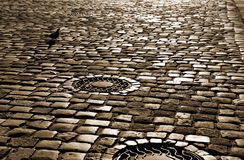 Road with paved stone blocks Royalty Free Stock Images