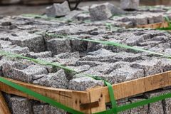 Road Paving Cobblestones Closeup Stock Photography