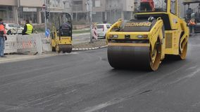 Road paving construction stock video footage