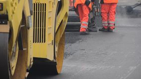 Road paving construction stock footage
