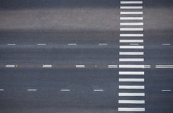 Road with pedestrian crossing, top view. Empty road with pedestrian crossing, top view stock photos