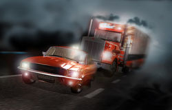 Road persecution. A high speed truck pursues a car in the night-mist Stock Image