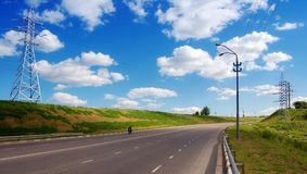 Road perspective. Travel on the Russian roads stock photo