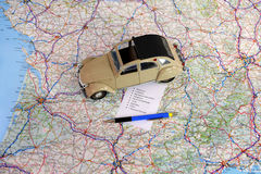 Road plan three. Calculate driving directions to a displacement Royalty Free Stock Image
