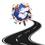 Road with planet earth and travel icon illustration stock illustration