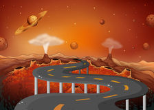 A road with planets in the outer space Stock Photography