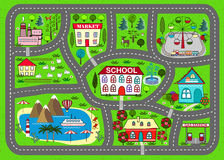 Road play mat for children activity and entertainment. Lovely city car track. Play mat for children activity and entertainment. Sunny city landscape with streets Royalty Free Stock Photos