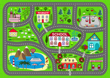 Road play mat for children activity and entertainment. Lovely city landscape car track. Play mat for children activity and entertainment. Sunny city landscape Royalty Free Stock Images
