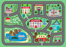 Road play mat for children activity and entertainment. Lovely city landscape car track. Play mat for children activity and entertainment. Sunny city landscape royalty free illustration