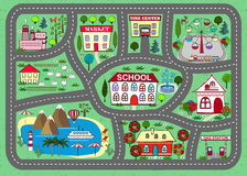 Road play mat for children activity and entertainment. Lovely city landscape car track. Play mat for children activity and entertainment. Sunny city landscape Stock Image