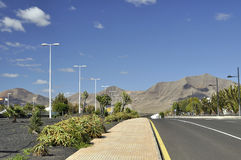 The road in Playa Blanca - Lanzarote Royalty Free Stock Photography