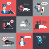 Road police flat background vector Royalty Free Stock Image