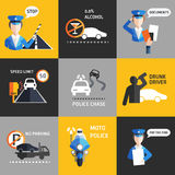 Road police flat background vector Royalty Free Stock Images