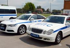 Road police patrol cars Stock Photo