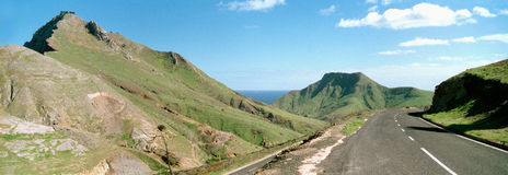 road through Porto Santo hills Royalty Free Stock Photography