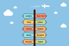 Road post pointing towards different cities. Signpost showing different traveling destinations. Summer holidays concept. With the sky and a plane flying. Vector vector illustration