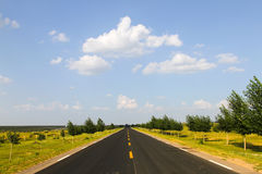 Road. Through the prairie road, no end in sight stock photography