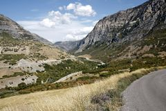 Road through Provo Canyon. Near Salt Lake City Royalty Free Stock Photo