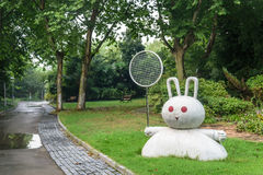 road and Rabbit statue in tennis Royalty Free Stock Image