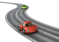Road race green red cars Royalty Free Stock Images