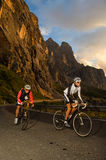 Road race sprint with bicycle. The winners arrive on the pass Royalty Free Stock Image