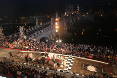 Road race start line night. Road race start line at night.  Mille Miglia, Italy Royalty Free Stock Photos