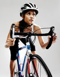 Road racing bicycle woman Stock Photo