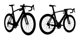 Road racing bike silhouette 2in1 B Royalty Free Stock Image