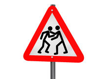 Road rage. Illustration of a road traffic sign signaling road rage Stock Photo