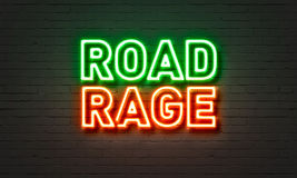 Road rage neon sign on brick wall background. Stock Photography