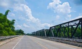 Road and rail bridge. Road and rail bridge built across the river royalty free stock photos